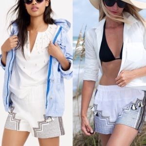 J Crew Collection Linen Embroidered Tassel Shorts